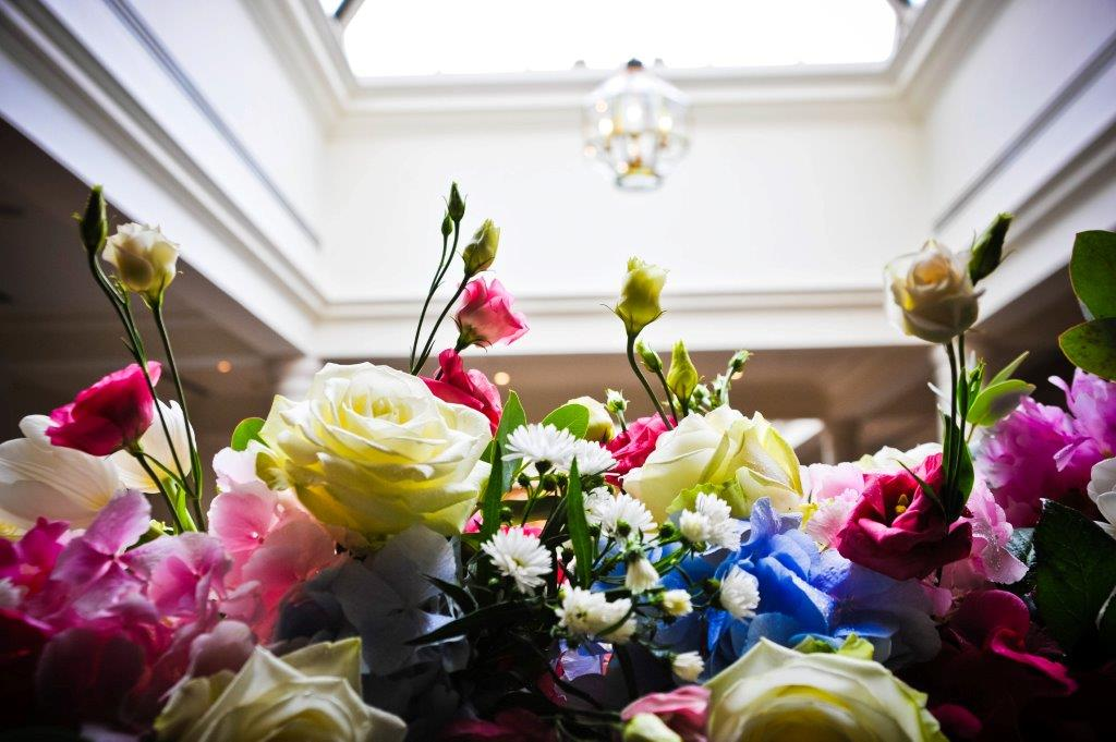 Beautiful balcony decoration in the Members Lounge at Wentworth Golf Club