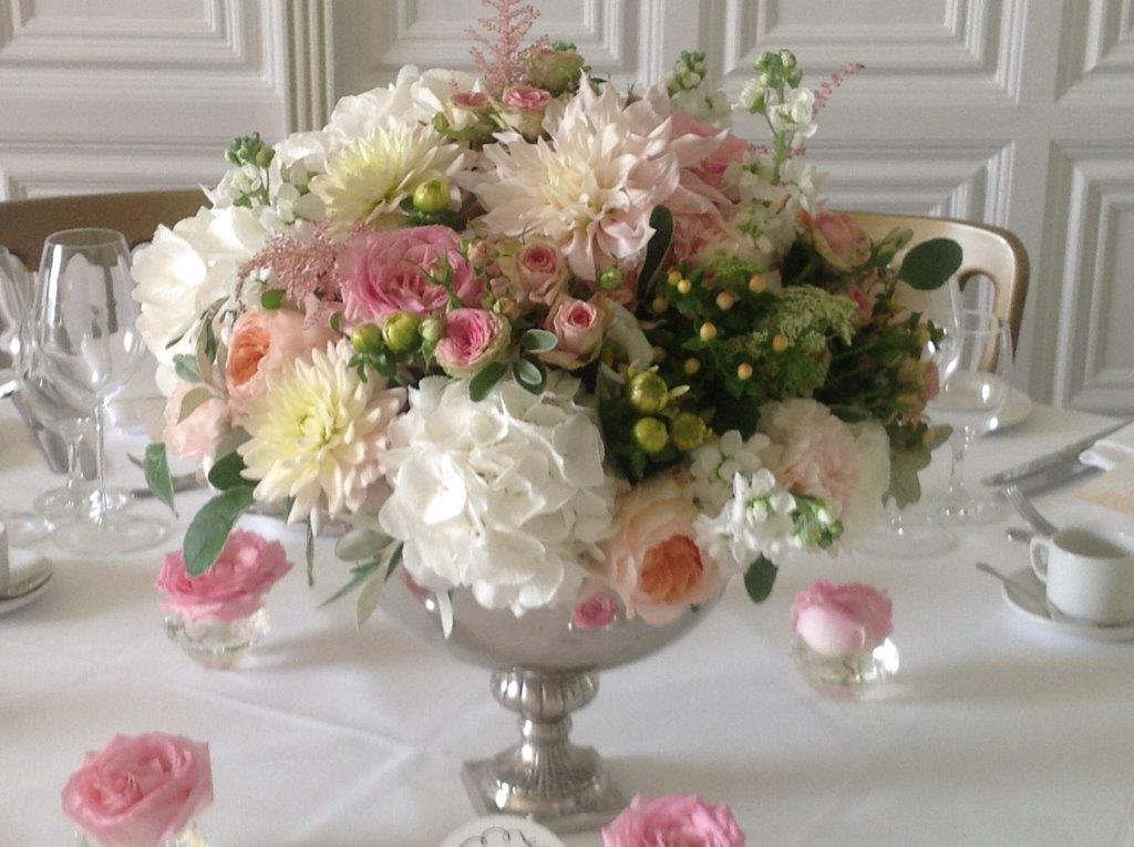 Wilver footed bowl with roses, hydrangeas and dahlias