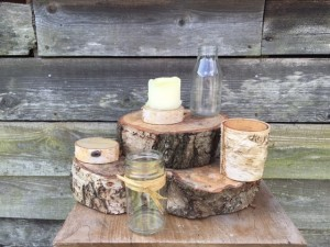 Wood slices, jam jars and milk bottles - please call for quantities